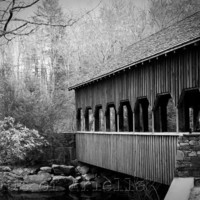 Covered Bridge Photo, Black and White Photography, Rustic Art Print