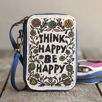 "Trendy Natural Life ""Think Happy Be Happy"" Canvas Phone Wristlet Wallet Case:Amazon:Cell Phones & Accessories"