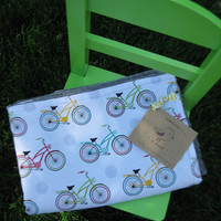 Minky Baby Blanket, Bicycles & Polka Dots, Gender Neutral Blanket, Stroller Blanket