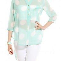 Polka Dot Chiffon Collarless Blouse