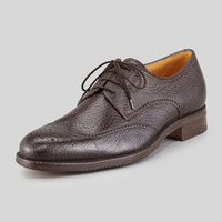 Gravati Peccary 4-Eyelet Wing-Tip Blucher, Medium Brown