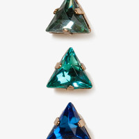 Faceted Triangle Stud Set | FOREVER 21 - 1024431641