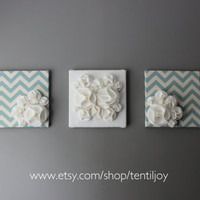 Three Wall Art Canvases Light Blue and White Chevron by tentiljoy