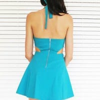 Dress Cut Out Halter Backless in Teal Turquoise