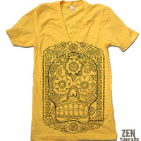 Unisex SUGAR SKULL Deep V Neck t shirt american apparel  XS S M L  (11 Color Options)
