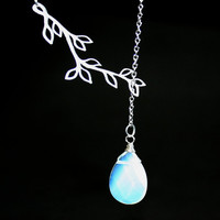 Opalite Moonstone Necklace Lariat necklace with by smilesophie