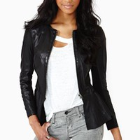 Obsidian Peplum Leather Jacket
