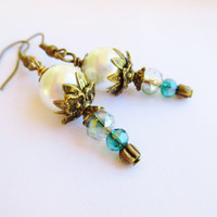 White Glass Pearl & Teal Crystal Victorian Style Flower Earrings