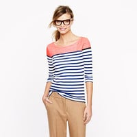 Colorblock stripe boatneck tee