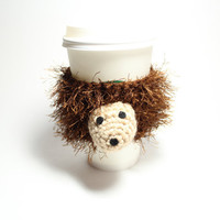 Hedgehog coffee cozy, Animal cup sleeve, crochet cozy