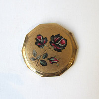 Vintage 1970 Stratton of England black rose and gold compact