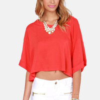 Weave a Tale Coral Red Top