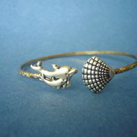 Shell and dolphin bracelet  wrap shell jewelery. nautical bracelet