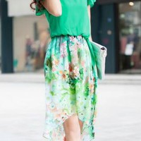 Summer Floral Print Asymmetrical Hem Dress