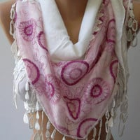 Mothers Day Gift White pink Shawl/ Scarf - Headband with Lace Edge