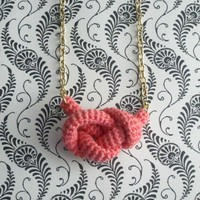 Bonds, Crochet Knot Necklace. Coral Pink Cotton Yarn