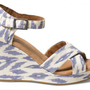 Blue Ikat Women&#x27;s Sustainable Strappy Wedges