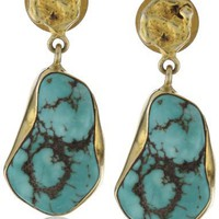 "Zariin ""The Spirited One"" Turquoise Gold Earrings"