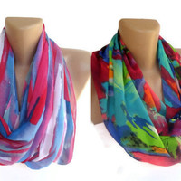 2 trend scarves, infinity loop scarf circle scarves, TREND COLOR SCARVES women neon colors scarves