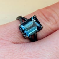 Stunning 4ct 8x10mm Emerald Cut London Blue Topaz in Oxidized Sterling Custom Made to Order in Your Size