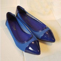 Blue Patent Leather and Mesh Flat Shoes