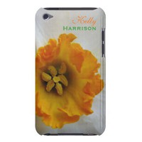White N Orange Daffodil Personalized iPod Case from Zazzle.com