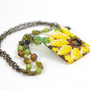 Romantic Summer Pendant &quot;Sunflower&quot;  White Yellow Green Beadwork Jewelry Vintage Style Art Deco  Ready to shipment