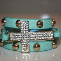 Adjustable Cross Snap Bracelet - Gold Cross, Rhinestones, Studded, Mint, Pink, White, Black, Red, Tan