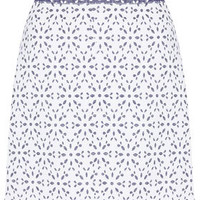 Contrast Floral Button Skirt