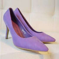 Purple Suede Leather Heel Shoes