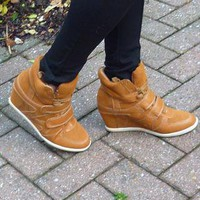 Hidden Wedge High Top Tan Trainers / Sneakers from jabberwocky
