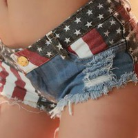 Sexy Nightclub Spice Modern Flag Splicing Low-rise Jeans Sho