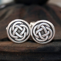 Cufflinks - Celtic Knot, Antique Silver Finish