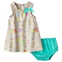 Cherokee® Newborn Girls' 2 Piece Dress Set - Aqua