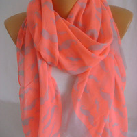 Mustache Print Neon Pink Gray Lightweight So Soft Spring Scarf Summer Scarf Cotton Scarf-ESCHERPE