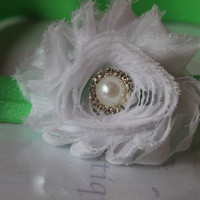 Baby Headband  Shabby Chic Flower Pearl by SweetLovesBowtique