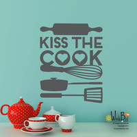 Kiss the Cook - Vinyl Wall Decal Sticker Art - Typography Wall Art