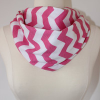Chunky Chevron Scarf- White and Pink Infinity Scarf - Loop Scarf, Circle Scarf - Handmade Women's Accessory