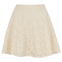 Cream Lace Skater Skirt - Skirts - Clothing - Topshop USA