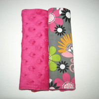 Mod Flowers and Hot Pink Minky Reversible Car Seat Strap Covers