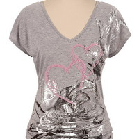 Maurices Premium Embellished Heart and Rose Print Tee