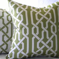 Trellis Pillow Cover Samba Apple Green 18x18