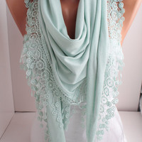 NEW - Light Mint - Jersey Scarf - Shawl Scarf - triangle scarf - Headband - Cowl with Lace Edge - Women&#x27;s Fashion Accessories  DIDUCI