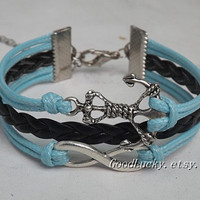 Leather Bracelet,Infinity Bracelet,Anchor Bracelet,Silver Bracelet-sky-blue color  wax rope,Black leather bracelet
