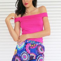 Shorts High Waist Psychedelic Print