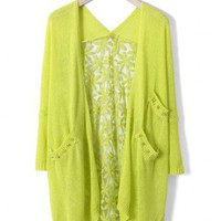 Daisy Floral Back Cardigan in Neon Green