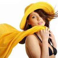"Beautiful Sexy Woman in Yellow Hat and Bikini. Summer Time - 42""W x 29""H - Peel and Stick Wall Decal by Wallmonkeys:Amazon:Home & Kitchen"