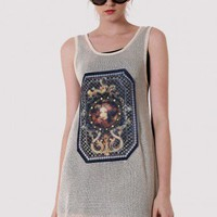Baroque Print Slip Knit Dress