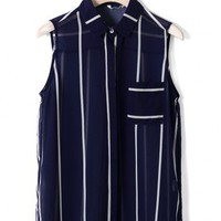 Stripe Pocket Shirt in Navy