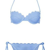 Cornflower Scallop Bikini Top and Pants - Swimwear - Clothing - Topshop